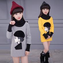 Girls Thick Velvet Winter Children Korean Long T-shirt Kids Clothing Cotton Printing Yellow Grey Rose Red(China (Mainland))