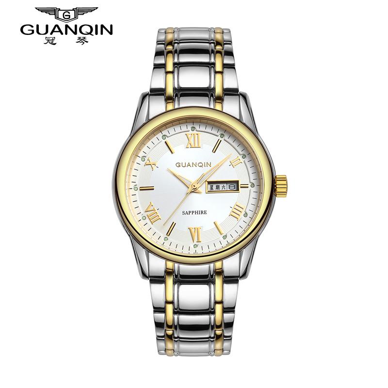 Weekly Calendar Quartz : Original guanqin quartz watches men top brand luxury