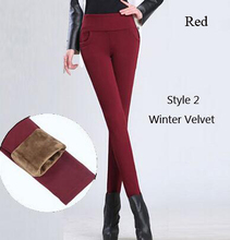Sale!Thick warm women winter office work pants High stretch cotton ladies pencil pants black red sapphire female office trousers(China (Mainland))