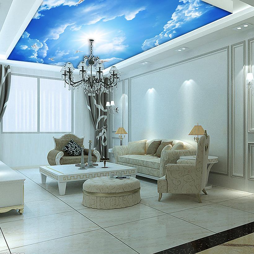 Custom murals 3d blue sky ceiling wallpaper mural wall for Custom mural painting