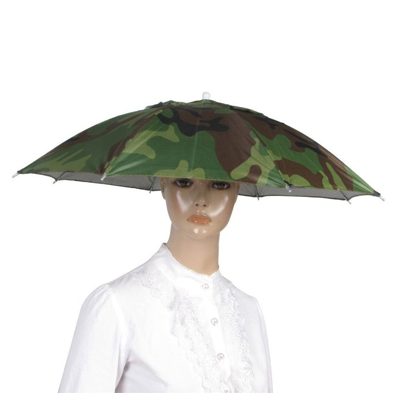 Outdoor Fishing Cap Sport Umbrella Hat Hiking Beach Camping Headwear Cap Head Hats Camouflage Foldable Sunscreen Umbrellas(China (Mainland))