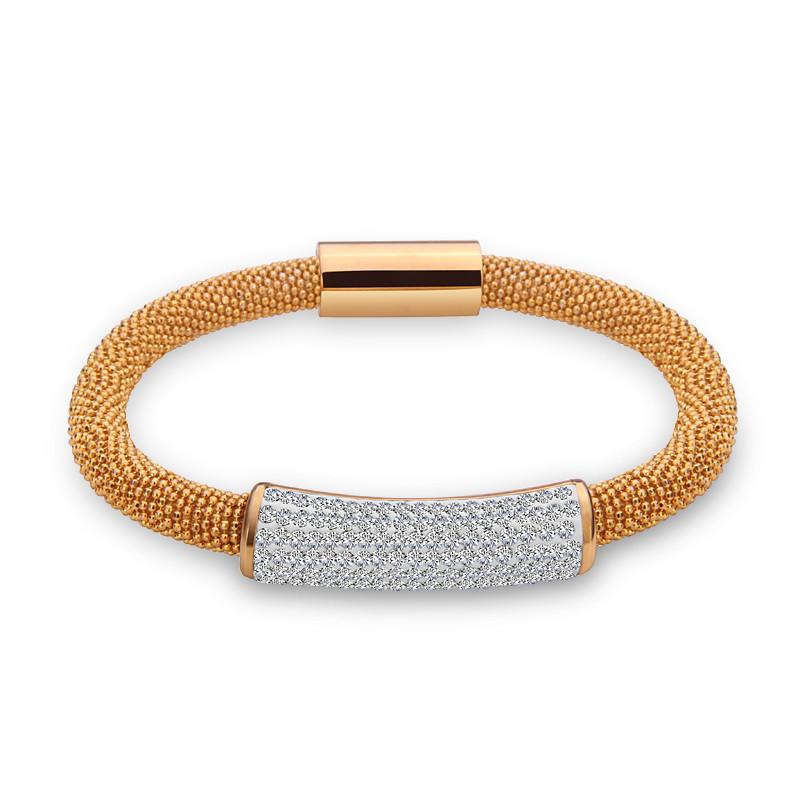 2015 Trendy stainless steel popcorn rhinestone bracelets bangles women jewelry magnet clasp high qualtiy hot sale wholesale lots(China (Mainland))
