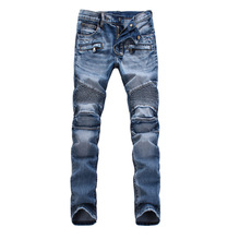 2016 Fashion Men's Slim Stratch Distressed Jeans Runway Biker Motorcycle Jeans MidWaist Acid Jeans Trousers Pants