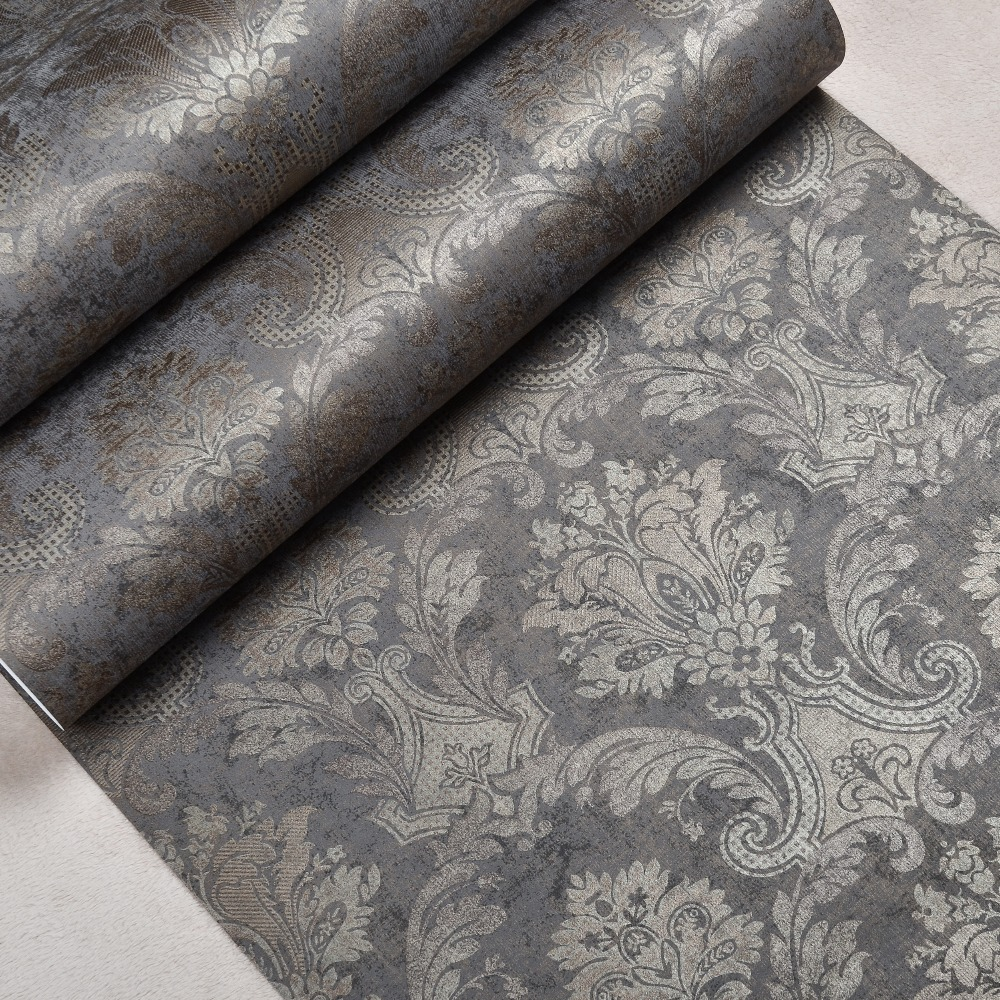 Classic Luxury Victorian Pattern Shimmer Bronze Metallic Damask Wallpaper Non-woven Dark Charcoal Brown Wall Paper(China (Mainland))