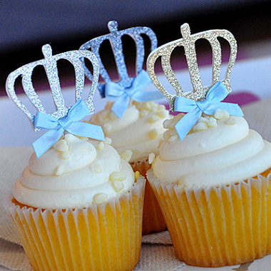 10pcs blue crown cake toppers Picks baby shower kids birthday party cupcake topper wedding decoration cake accessory(China (Mainland))