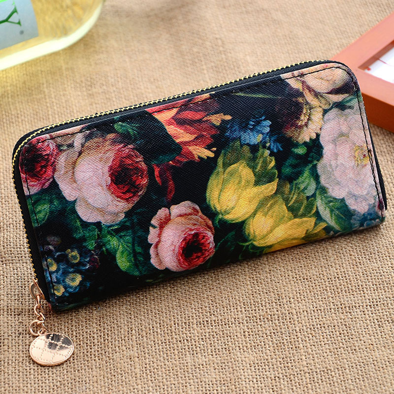 Retro fashion Wallets First class PU leather Women Purse big capacity Lady Oil Painting Long Money Clip Clutch Dollar price(China (Mainland))