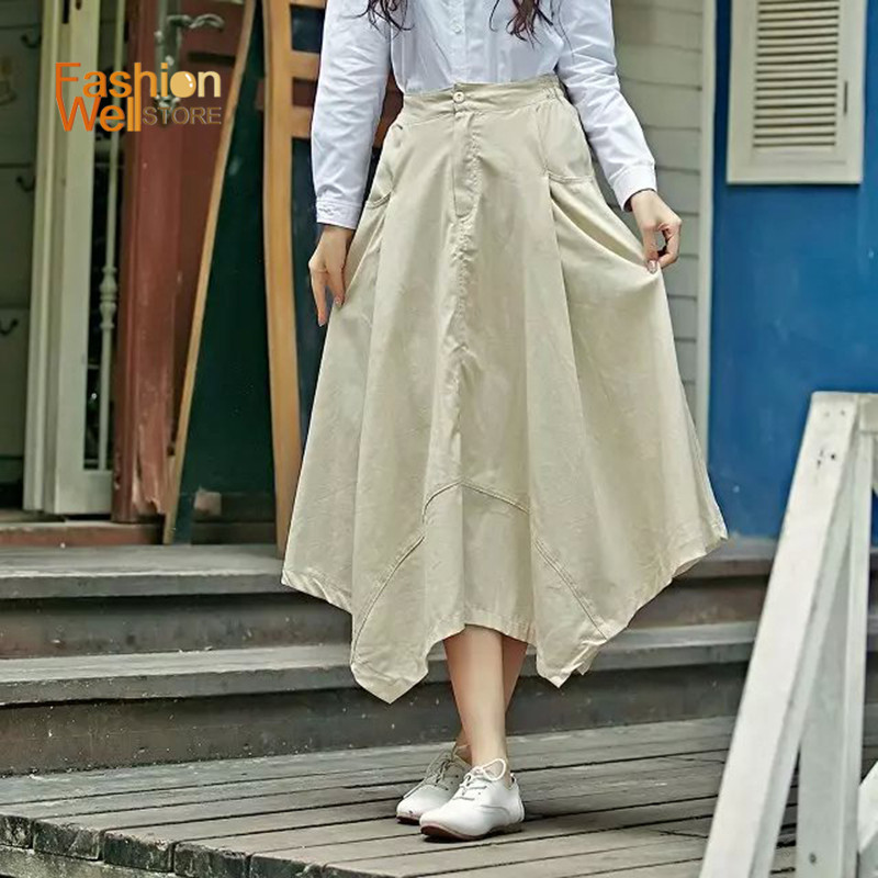 Women Summer Style Skirts Long Section Irregular Unique Design Pleated Saia Skirts Jupe Longue ...