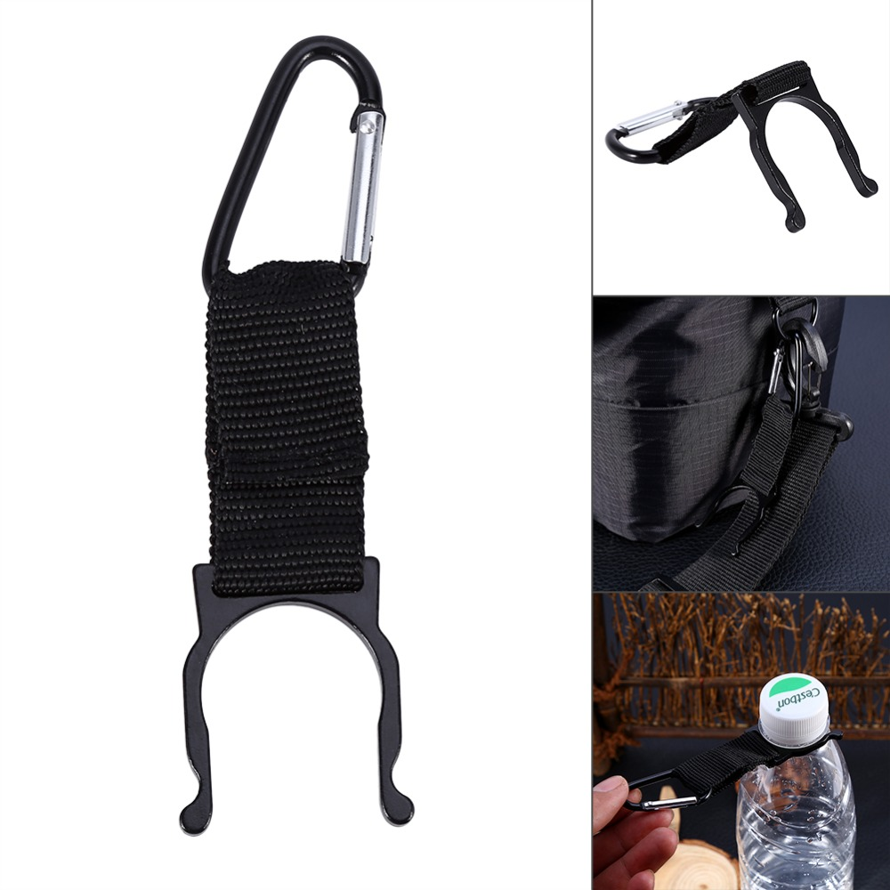1Pc Black Outdoors Sports Water Bottle Buckle Hook Holder Clip Aluminum Hiking Carabiner travel Survival Tool For Camping Hiking(China (Mainland))