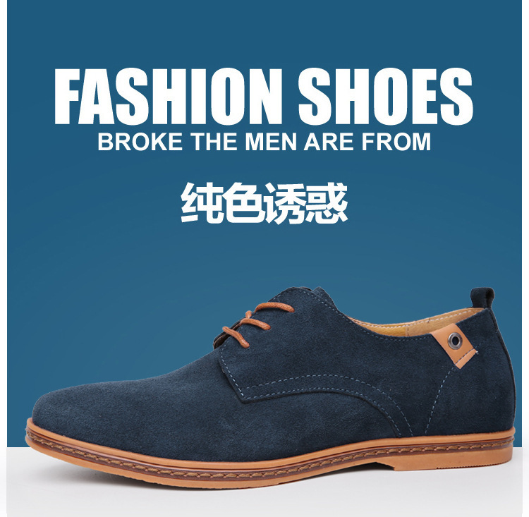 2015 new fashion suede leather casual oxfords men's logging shoes plus size 7 color fine workmanship free shipping on promotion(China (Mainland))
