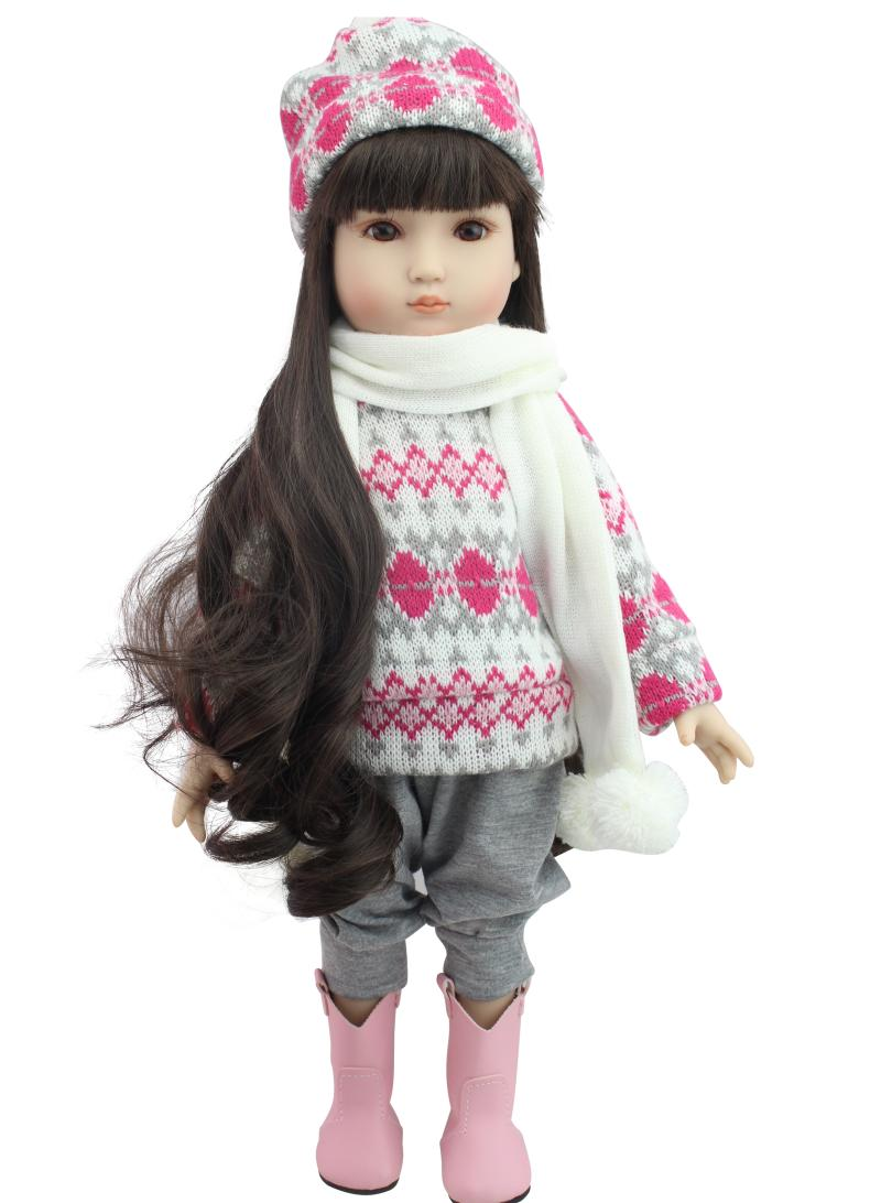 45cm Vinyl Plastic American Girls Dolls Toys Lifelike Princess Baby Toddler Doll Girl Brinquedos Babies's Birthday Gifts