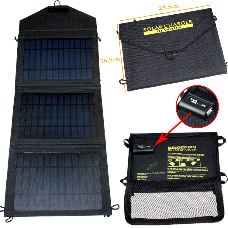 Foldable solar charger 10w 1650mAh outdoor portable solar panel charger usb battery charging for phone Power Bank computer()