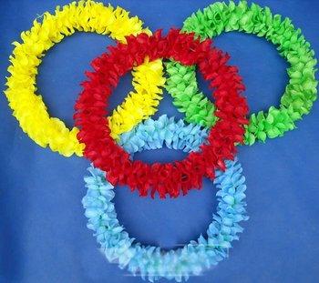 80cm Party/Christmas Supplies Hawaiian Flower Lei Hard Coil Wire Garland/Hawaii Wreath Cheerleading Products Hawaii HH8044