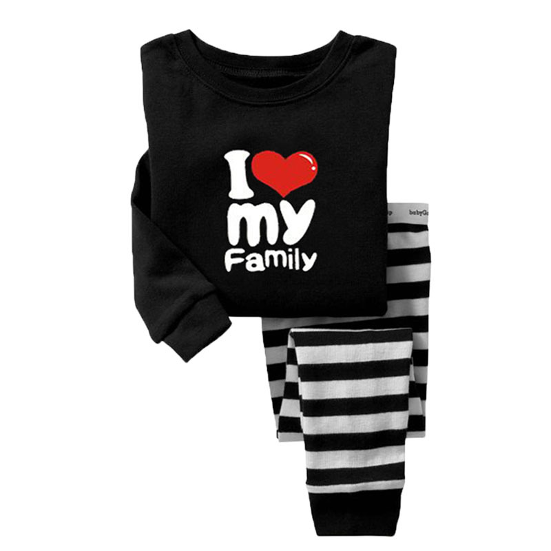 Гаджет  Brand New 2015 Pijamas Kids 100% Pure Cotton I Love My Family 2T To 7Y Kids Girls Boys Clothes 2Pcs Family Clothing Sets Pajamas None Детские товары