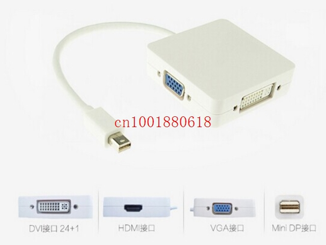 Free Shipping 50pcs/lot 3 in 1 Mini DP DisplayPort to VGA HDMI DVI Cable Adapter For Apple MacBook Pro Air mini iMac(China (Mainland))