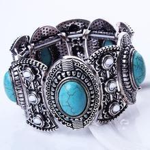 Classical Women's Retro Vintage Natural Turquoise Gift Bracelet Cute Tibet Silver Bracelet JJAL B436(China (Mainland))