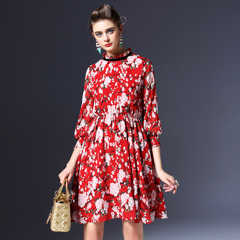 Floral dress new 2016 spring summer dress three quarter sleeve O neck brand red print chiffon casual women dress vestidos