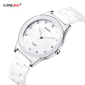 LONGBO Brand Lovers Ceramic Watch 2016 Fashion Women Rose Gold Rhinestone Quartz Watch Men Casual Sport
