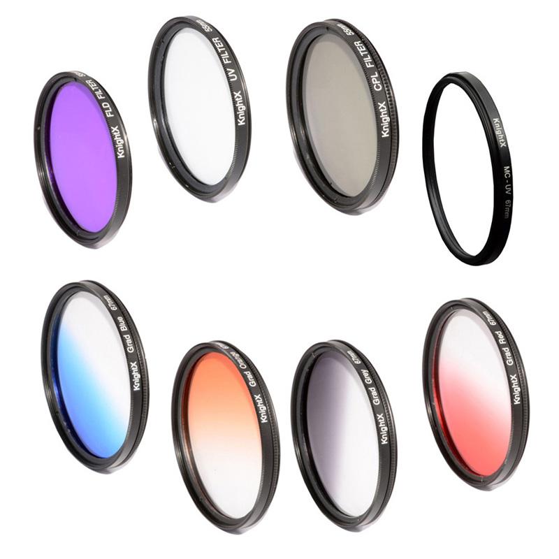 KnightX FLD UV CPL MC UV Orange grey Blue Lens Filter Line for Canon EOS Nikon D7100 D5300 D5200 D3300 Digital Camera Lenses(China (Mainland))
