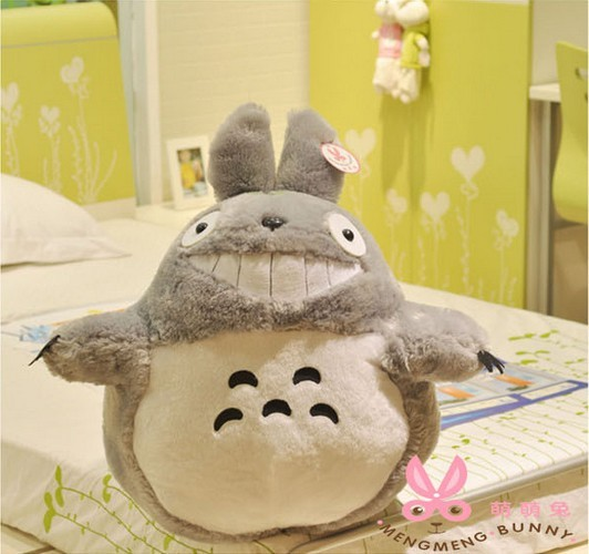 TOTORO plush Hayao Miyazaki TOTORO Bared teeth Lovely chinchilla Plush large plush toy gift doll 40CM FREE SHIPPING(China (Mainland))