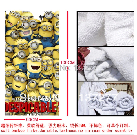 Wonderland Despicable Me MInions 2 Monster Cartoon Children's Bath Towel Creative Birthday Gift for Boys or Girls 50*100cm(China (Mainland))