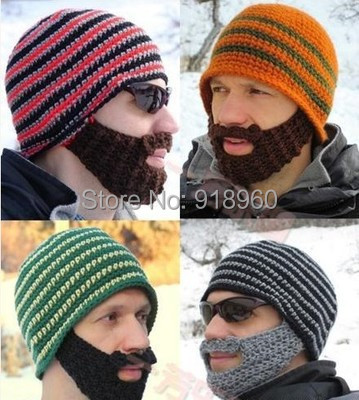 winter vogue striped knit ski skull face mask beard hats for man women beanie,toca touca gorros homme,turbante chapeu feminino(China (Mainland))
