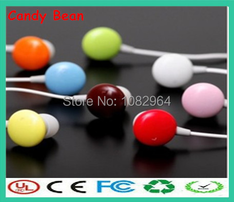 Best Price Mini portable Colorful 3.5mm plug in ear headphone Candy bean earphones for mp3 player mobile phone(China (Mainland))