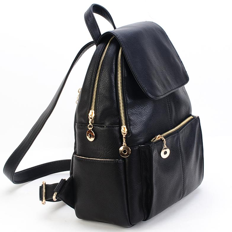 Black Leather Backpack Handbag | Frog Backpack