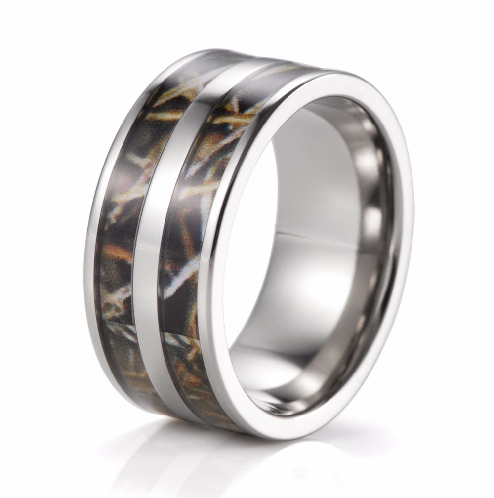 mens 9mm titanium double realtree max 4 camo engagement ring camo wedding band - Cheap Men Wedding Rings