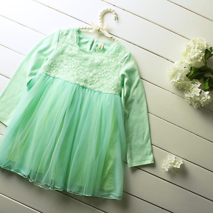 children spring clothing 5pcs/lot wholesale 2015 new long-sleeved dress Girls lace chiffon sweet princess dresses subnet yarn<br><br>Aliexpress