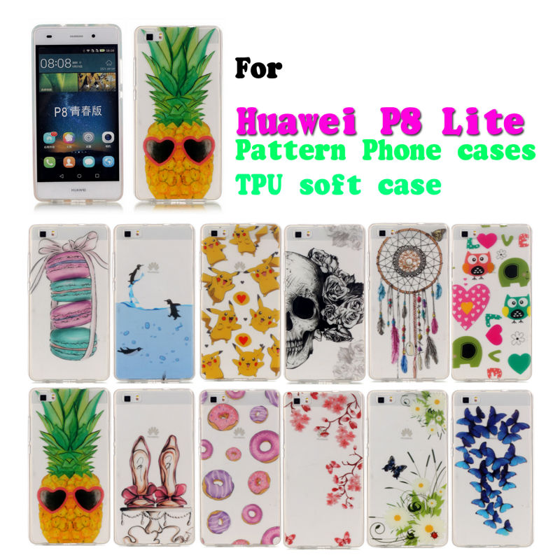 New Brand Cover Lovely Clear Pattern Soft TPU back case for Huawei P8 Lite mobile Phone cases Russia Brazil USA UA BY(China (Mainland))