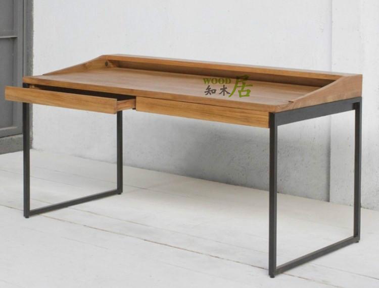 Muebles país de américa, madera, hierro forjado escritorio de la