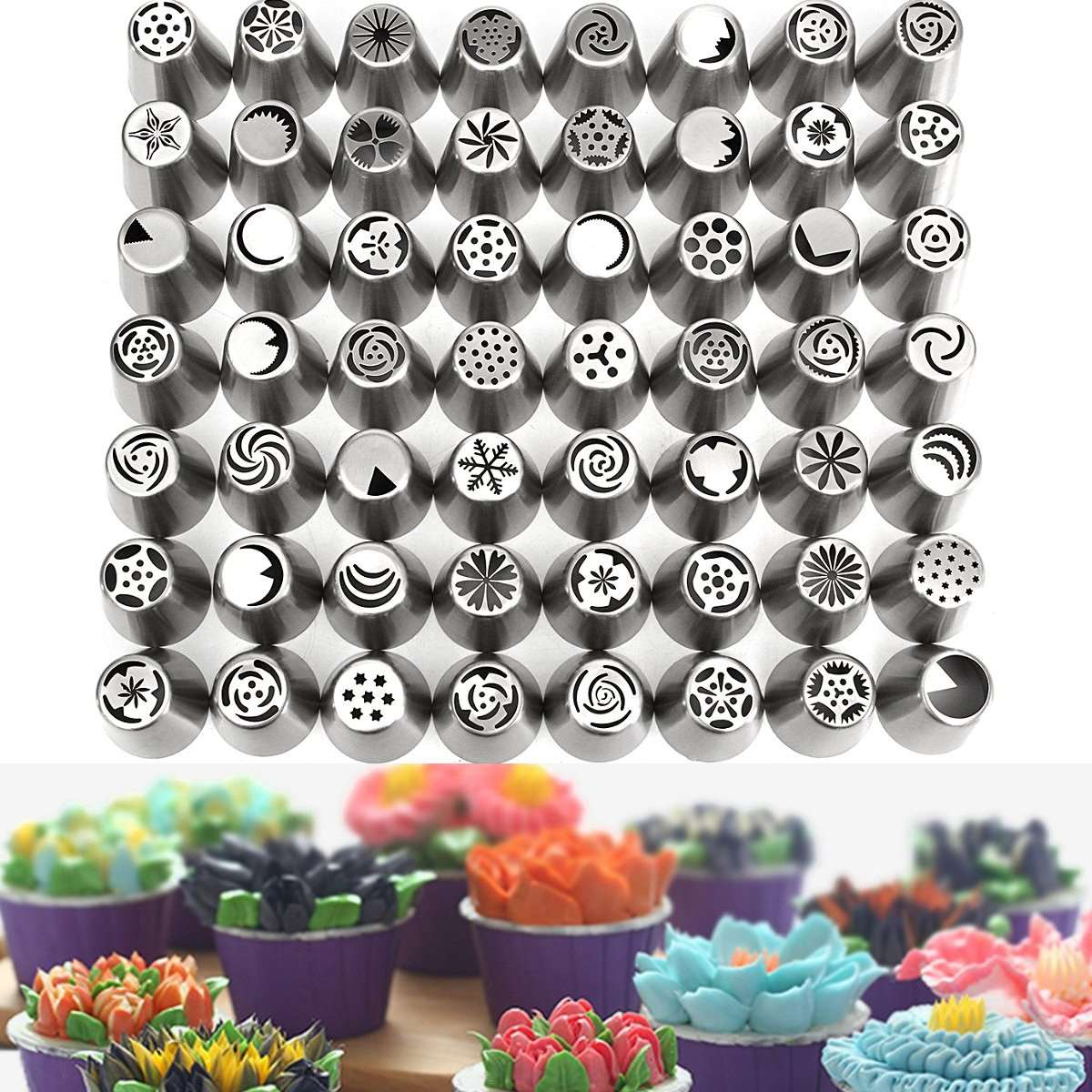 56Pcs Flower Piping Nozzles Set Stainless Cake Decorating Tips Kit Home Kitchen Bakery Baking Tools Cake Decor Kit Accessories(China (Mainland))