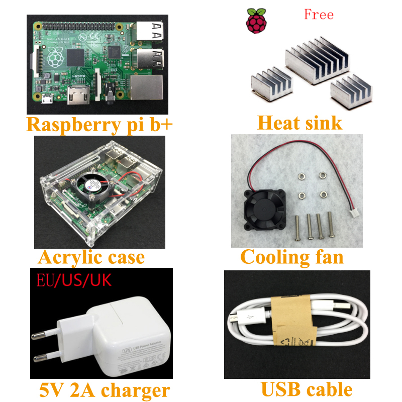 Original UK production Raspberry Pi 512M B+ board+ acrylic case + Rpi cooling fan +5V 2A Power charger and cable Free shipping(China (Mainland))