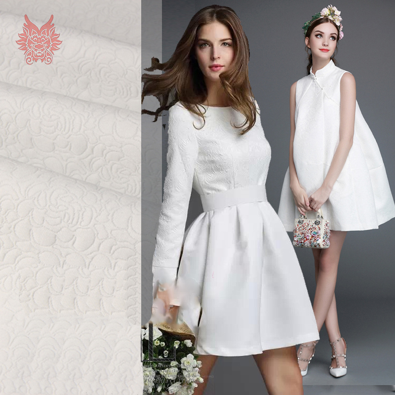 American style off white floral jacquard soft fabric for dress coat jacquard tissue for sew cloth tela tejido SP3256 FREE SHIP(China (Mainland))