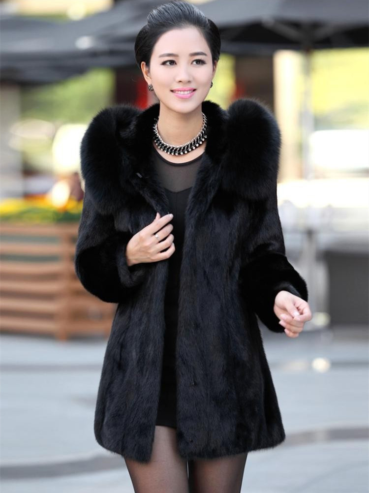 Winter coat female Imitation rabbit fur 2015 faux fox fur collar length size 4 xl - s XXXL black bold coat(China (Mainland))