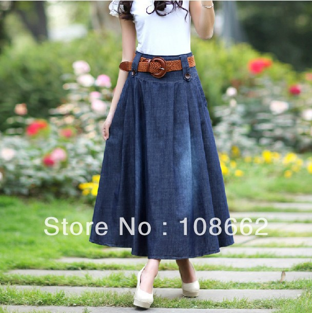 Brand new women's autumn spring elastic cord waist ladies skirts denim casual long jeans skirts with belt as a gift