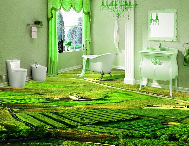 Glazed Ceramic Tiles 3D Background Floor Tile in Garden