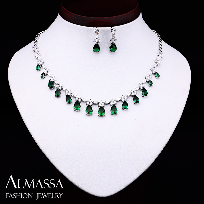 3 Color Choice Emerald &amp; White Top Quality CZ Diamond Zircon Drop Necklace and Earring Women Luxury Jewelry Set<br><br>Aliexpress