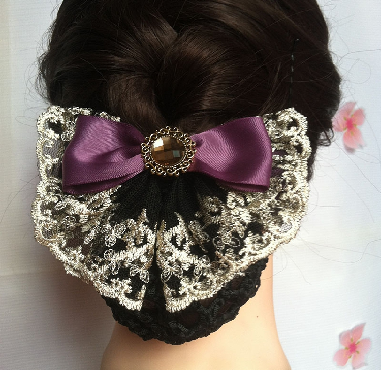 2pc A fine lace jewel flower girl occupation unit enterprise white collar pocket bag mail headdress hairpin airline stewardess(China (Mainland))