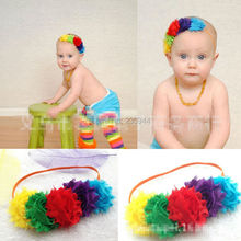 Critical fashion in Europe and the infant children's hair band Colorful chiffon flash disk flowers hair with hair 24pcs/lot(China (Mainland))