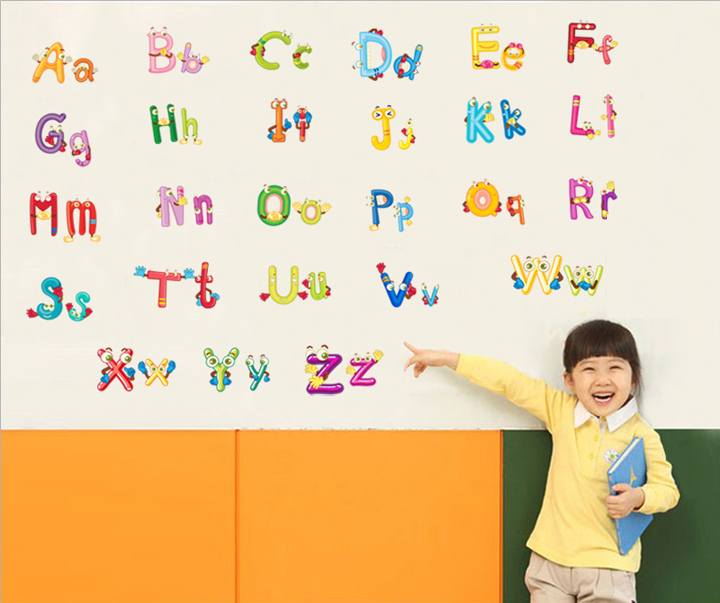 The English Alphabet Wall Sticker English Words Prepare For Baby Learning Home Decor For Kids Room CT046(China (Mainland))