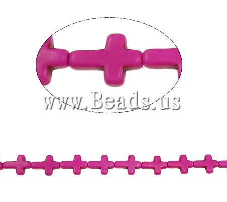 Free shipping!!!Turquoise Beads,Exquisite, Synthetic Turquoise, Cross, fuchsia pink, 16x12x4mm, Hole:Approx 1.5mm