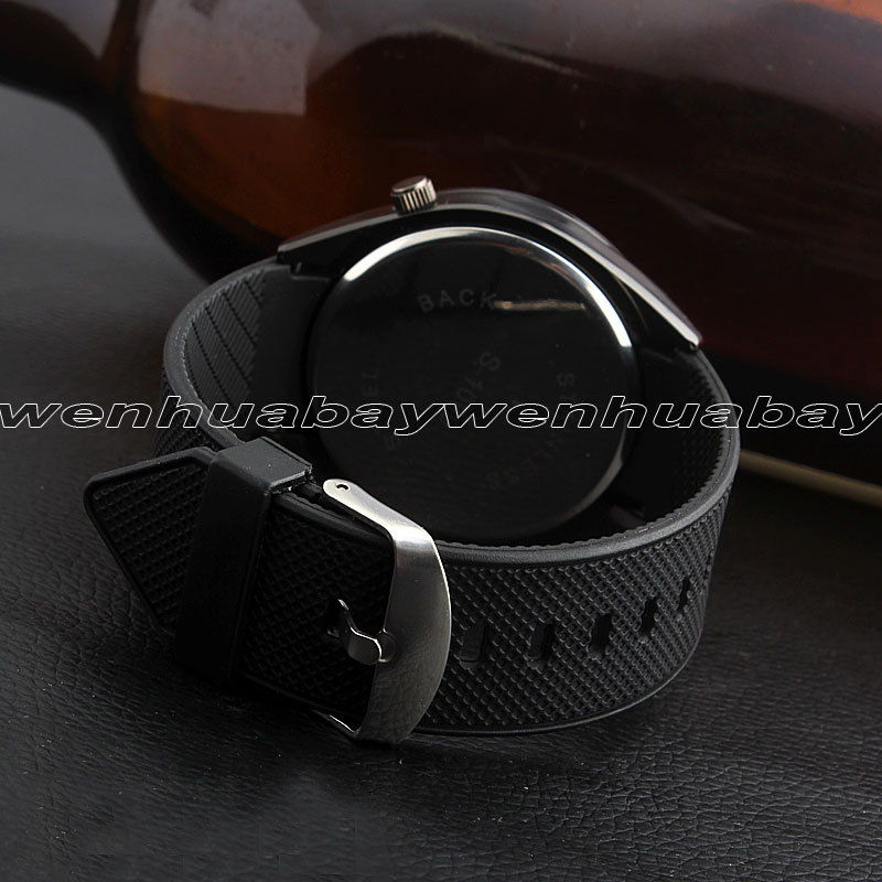 New Black Two Time Zones Dual Movements Rubber Band Quartz Wrist Watch Men Boy Women Sports