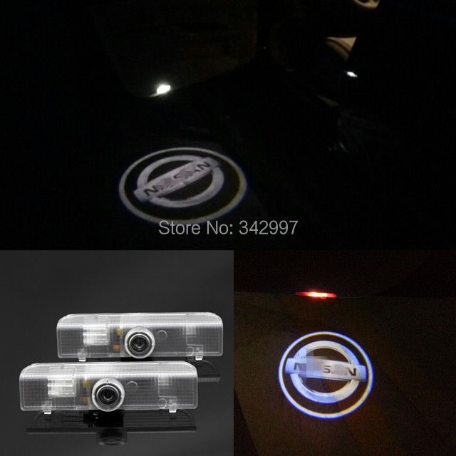2x car door light, Ghost shadow lights, projectors Logo emblem For Nissan Altima Coupe Altima Sedan Armada Maxima Quest Titan(China (Mainland))