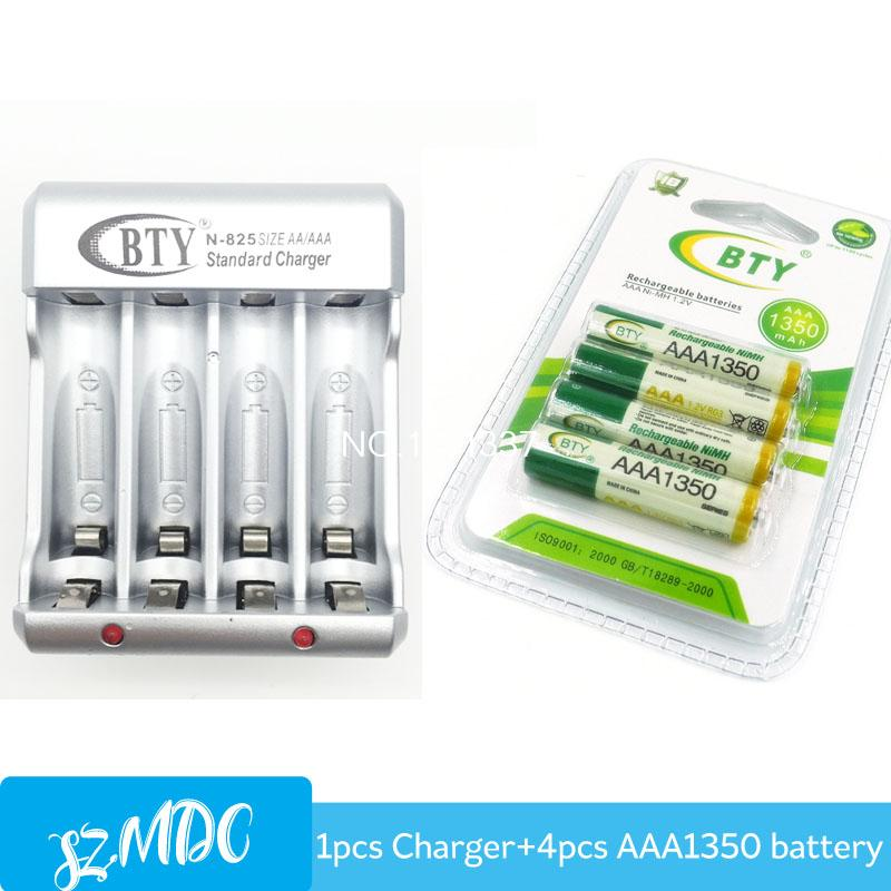825 Charger for Ni-MH Ni-CD AA AAA Rechargeable Battery + AAA 1350 mAh 1.2V Rechargeable Batteries 4pcs for RC Toys Camera MP3(China (Mainland))