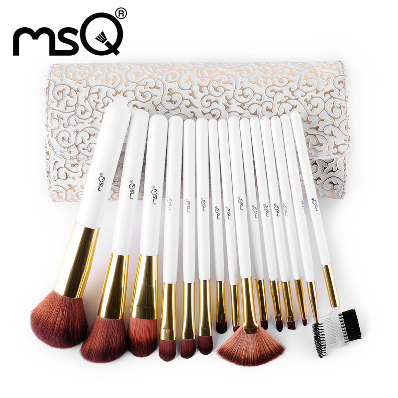 MSQ 15pcs Makeup Brushes High Quality Nylon Hair Make Up Brush Beauty Comestic Brush Set With Delicate White Patterns PU Case(China (Mainland))