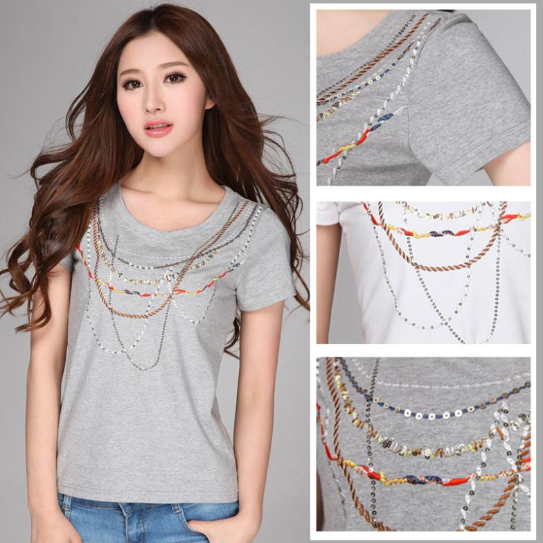 Embroidery paillette mm plus size clothing summer