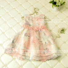 Flower Printing girls fall dress,wholesale fshion 2015 girls clothing, 5 pcs/lot(2409010),fit for 2-6 years