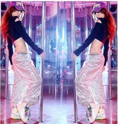 Женщин хип-хоп штаны широкий блесток джаз танец брюки сценический костюм производительность