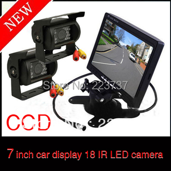 """2 X 18 IR CCD Reversing Camera + 7 """"LCD Monitor Car Rear View Kit to send 10m video cable for long Bus Truck"""